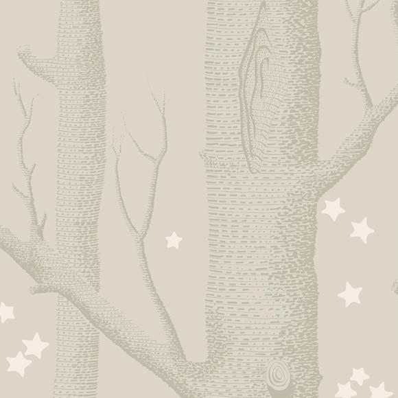 Papier Peint Woods Amp Stars Gris Argent Et Blanc Whimsical