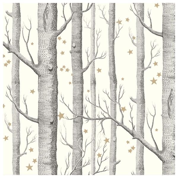 papier peint woods and stars, oir, blanc et or - whimsical