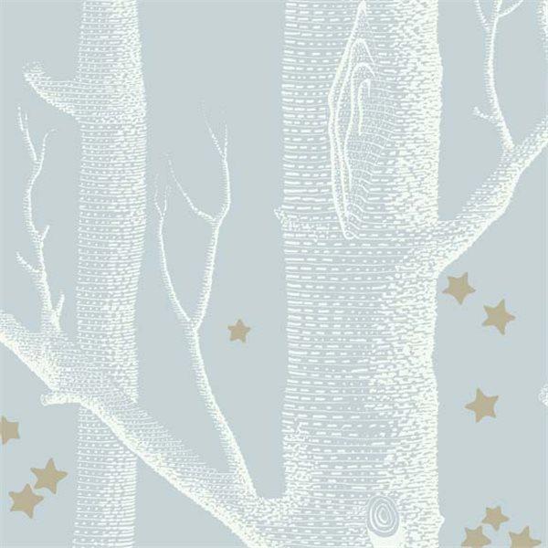 Papier Peint Bleu Poudr Blanc Et Or  Woods  Stars