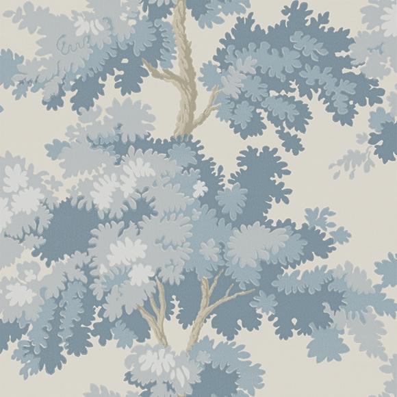 Papier peint aux arbres bleus rapha l - Papier peint motif arbres ...
