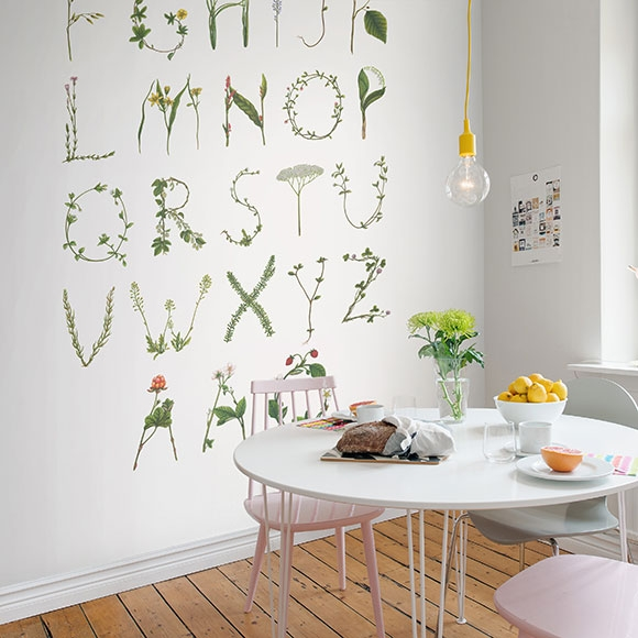 Papier peint alphabet su dois vert abc for the swedish bee for Abc espace vert