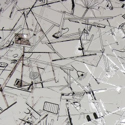 Papier peint - Erica Wakerly - Construct - White / Black / Silver