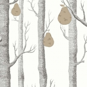 Papier peint - Cole and Son - Woods and Pears - Black, White & Gold