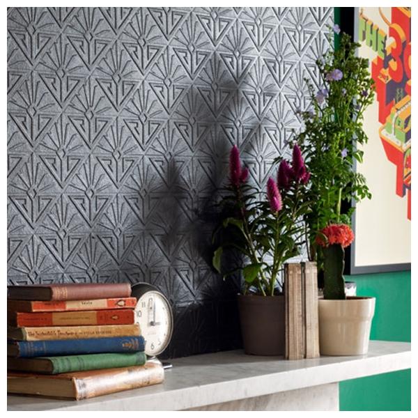 papier peint deco paradiso formes blanches en relief art. Black Bedroom Furniture Sets. Home Design Ideas