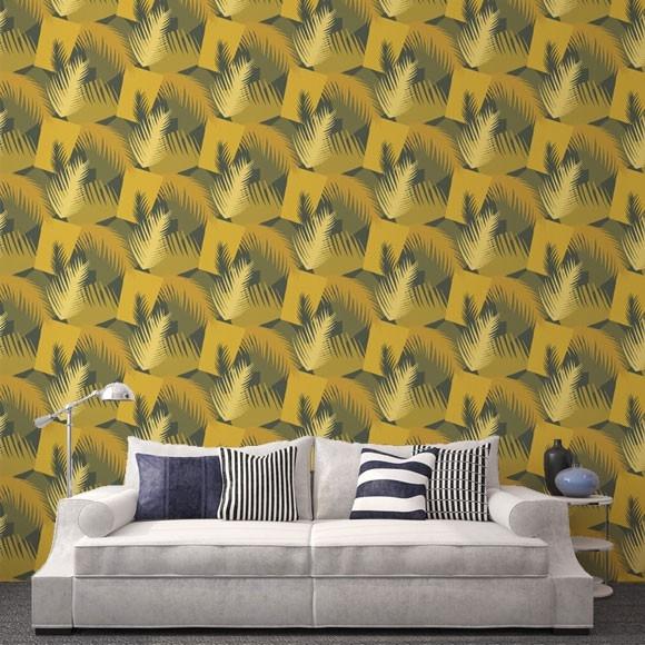Papier peint deco palm jaune moutarde et vert motifs feuilles - Papier peint jaune moutarde ...