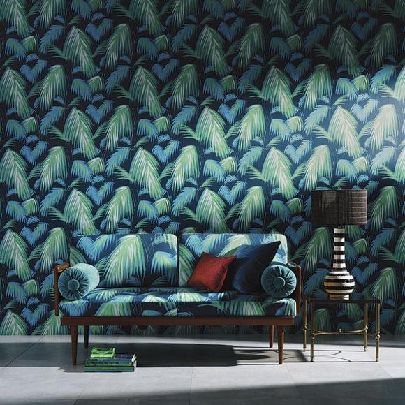 papier peint tropicana jungle verte et bleu fond gris. Black Bedroom Furniture Sets. Home Design Ideas