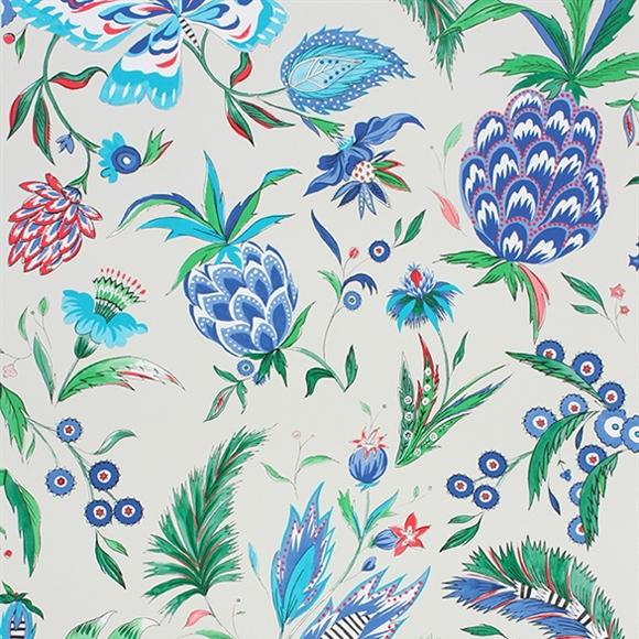 Papier peint motifs ananas et papillons bleus habanera - Papier peint ananas ...