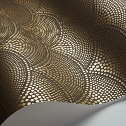 Papier peint - Cole and Son - Feather Fan - Brown and Gold