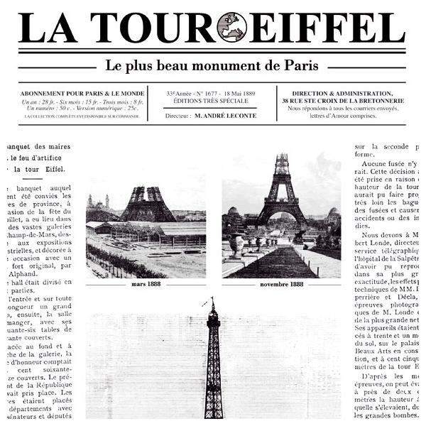 Papier peint journal tour eiffel la petite histoire - Les dimensions de la tour eiffel ...