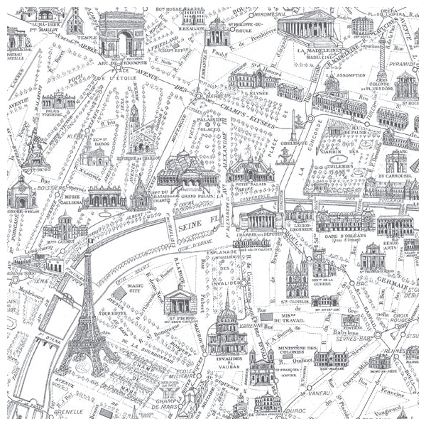 Papier peint Plan de Paris Monumental – Carte de Paris en