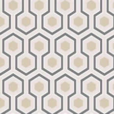 Papier peint - Cole and Son - Hicks' Hexagon - Blanc / Gris