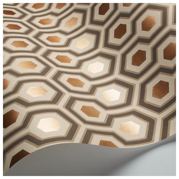 papier peint motifs g om trique marrons cuivr s hick s. Black Bedroom Furniture Sets. Home Design Ideas
