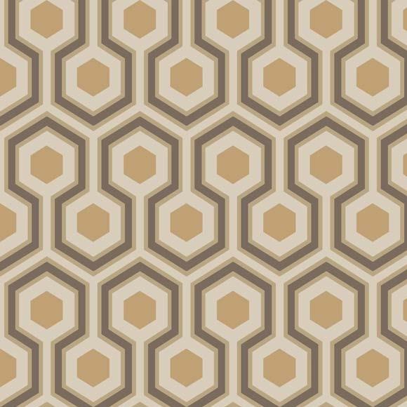 Papier peint motifs g om trique marrons cuivr s hick s hexagon - Papier peint a motifs ...