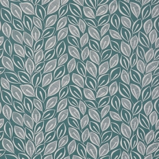 Papier peint - MissPrint - Leaves - Teal with white