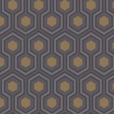 Papier peint - Cole and Son - Hicks Hexagon - Dark Grey & Bronze