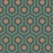 Papier peint - Cole and Son - Hicks Hexagon - Teal & Gold