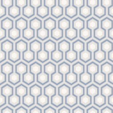 Papier peint - Cole and Son - Hicks Hexagon - Blue Grey & White
