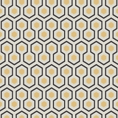 Papier peint - Cole and Son - Hicks Hexagon - Grey Black White & Gold