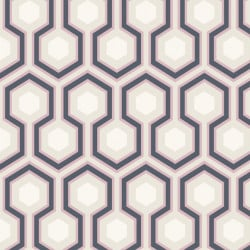 Papier peint - Cole and Son - Hicks Hexagon - Grey Blue & Pink