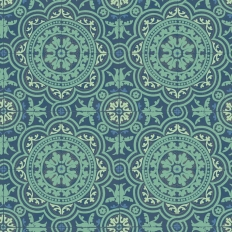 Papier peint - Cole and Son - Picadilly - Teal & Gold