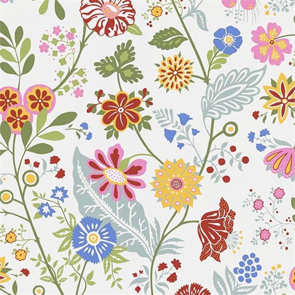 Papier peint fleurs rose amelie sandberg au fil des couleurs - Papier peint motif ancien ...