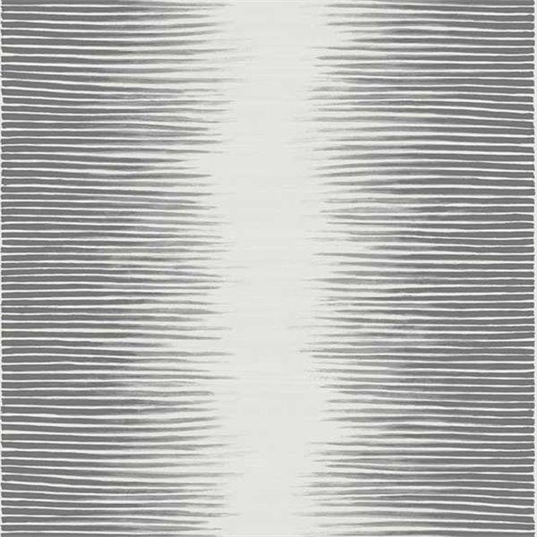 papier peint plume motifs rayures blanc cr me gris fonc. Black Bedroom Furniture Sets. Home Design Ideas