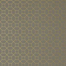 Papier peint - Thibaut - Farris - Metallic Gold on Charcoal