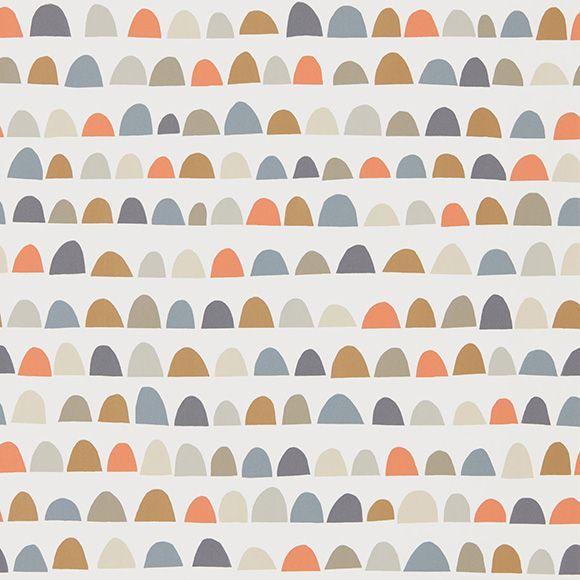 papier peint priya demi cercles gris vert kaki orange. Black Bedroom Furniture Sets. Home Design Ideas
