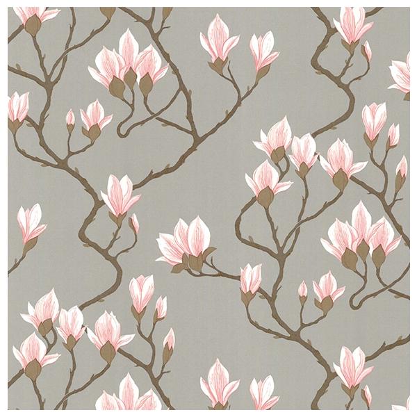 papier peint magnolia fond argent et fleurs de magnolia. Black Bedroom Furniture Sets. Home Design Ideas