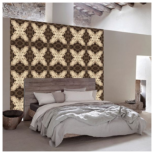 papier peint chev kal idoscope marron fonc et beige. Black Bedroom Furniture Sets. Home Design Ideas