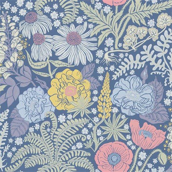 Papier peint lisa fond bleu fonc et fleurs color es - Papier peint bleu fonce ...