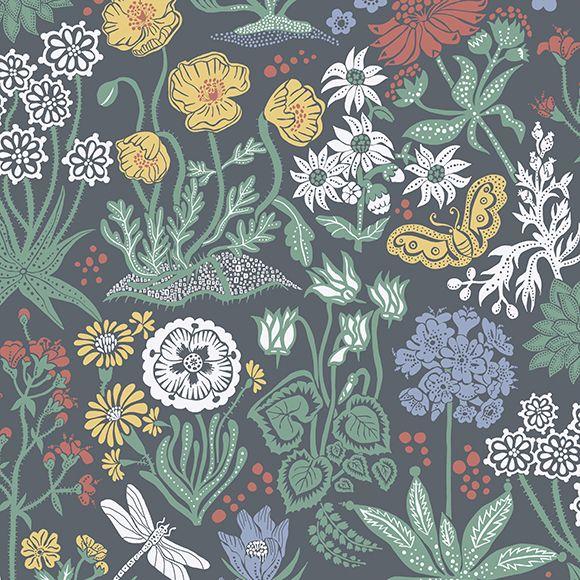 Papier peint lotte fond noir jolis motifs color s - Papier peint motif scandinave ...