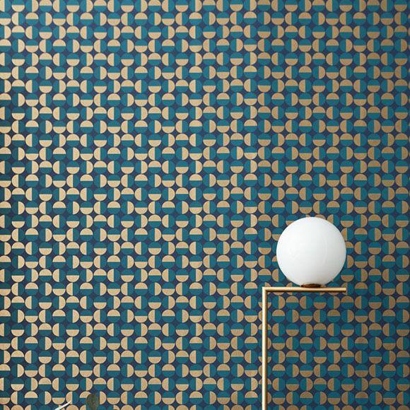 papier peint vertigo petits ronds vert canard et dor s. Black Bedroom Furniture Sets. Home Design Ideas