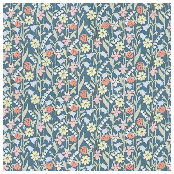 papier peint juniflora fleurs color es arri re plan bleu nuit. Black Bedroom Furniture Sets. Home Design Ideas