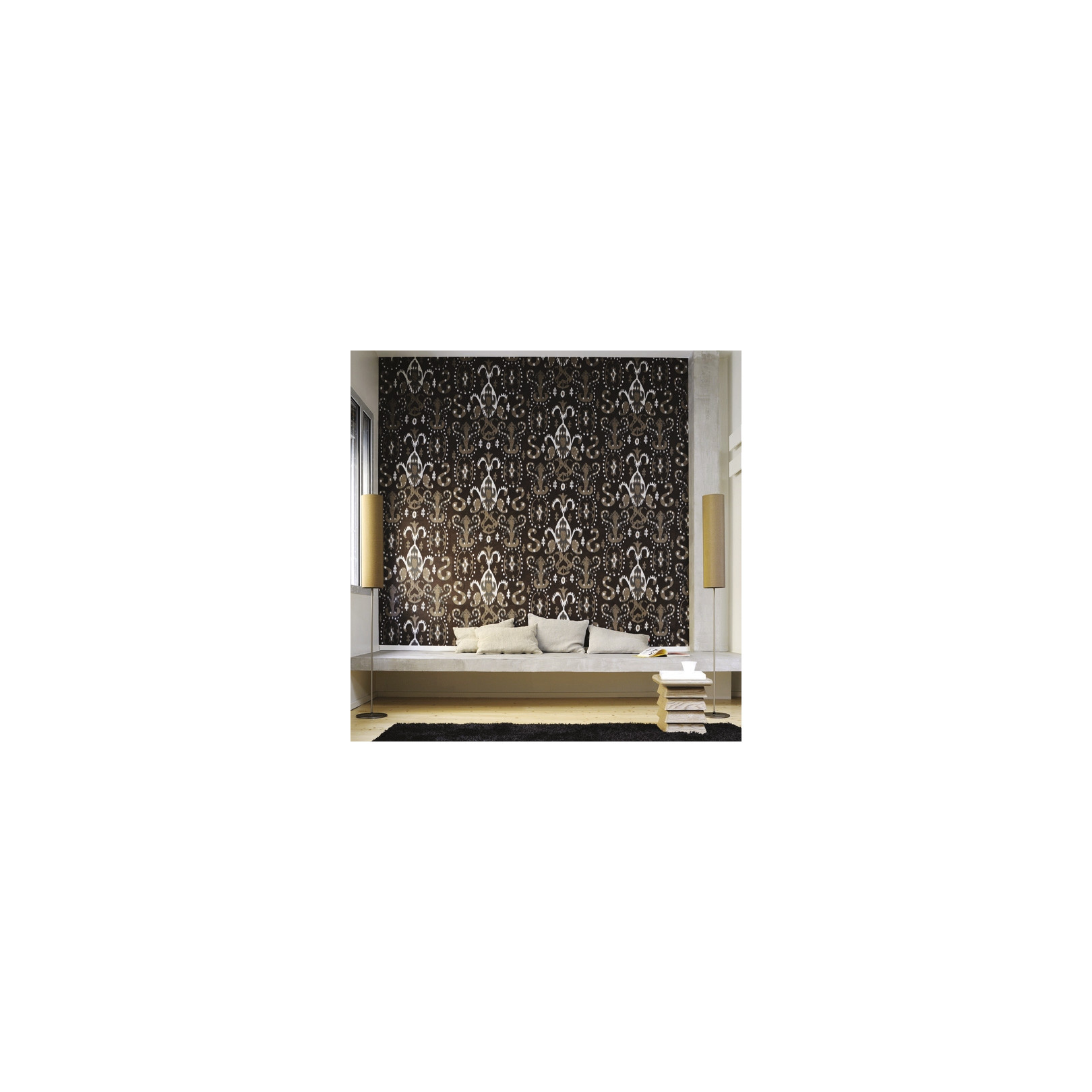 papier peint ethnique totem marron elitis. Black Bedroom Furniture Sets. Home Design Ideas