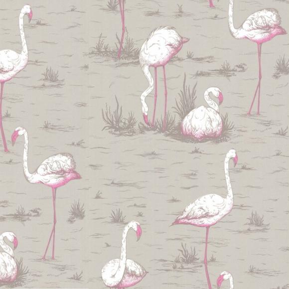 Papier peint animaux gris flamingos cole and son au - Au fil des couleurs papiers peints ...