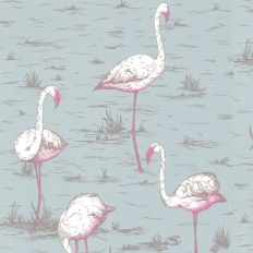Papier peint - Cole and Son - Flamingos - Pale Blue White & Pink