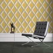 Papier peint - Cole and Son - Pompeian  - Mustard Grey & White
