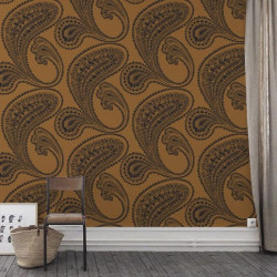 Papier peint - Cole and Son - Rajapur - Mustard & Black