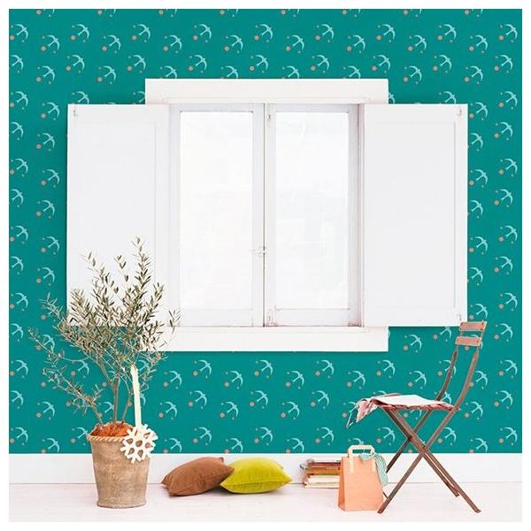 papier peint seabirds oiseaux vert d eau ciel vert. Black Bedroom Furniture Sets. Home Design Ideas
