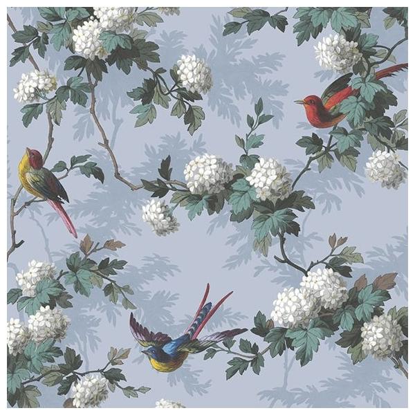 papier peint bird print fond bleu lavande oiseaux et fleurs. Black Bedroom Furniture Sets. Home Design Ideas