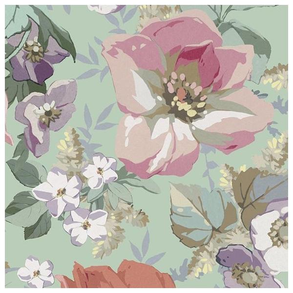papier peint classic rose all over fleurs fond vert. Black Bedroom Furniture Sets. Home Design Ideas