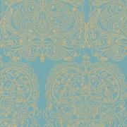 Papier peint - Cole and Son - Alpana  - Turquoise & Gold