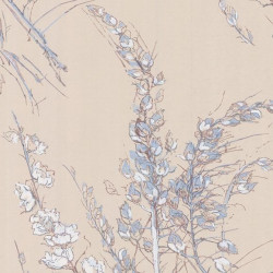 Papier peint - Cole and Son - Wild Flowers  - Taupe Blue & White