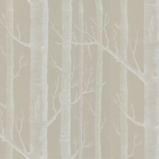 Papier peint - Cole and Son - Woods - Stone & White