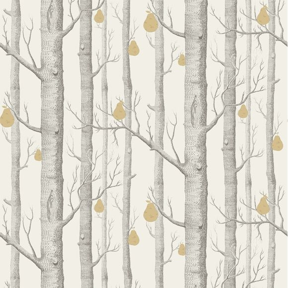 papier peint woods pears arbres gris et poires dor es. Black Bedroom Furniture Sets. Home Design Ideas