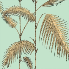 Papier peint - Cole and Son - Palm Leaves - vert menthe et jaune sable