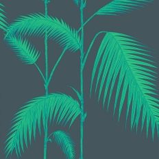Papier peint - Cole and Son - Palm Leaves - vert et bleu