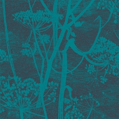 Papier peint - Cole and Son - Cow Parsley - bleu sarcelle