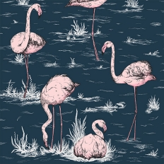 Papier peint - Cole and Son - Flamingos - bleu encre et rose albâtre